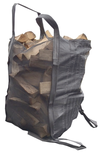 The Dry'n'Turn big-bag has bottom handles that allow to easily return the bag to empty it with forks. The bag has two mesh sides to ensure that the wood inside seasons efficiently.