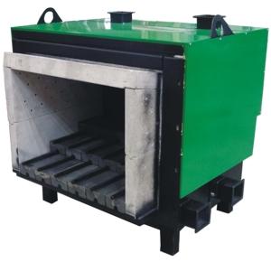 Brûleur biomasse Säätötuli 1.7 million de BTU/hr (500kW) - la grille de combustion est en éléments en fonte, le brûleur est entouré de céramique réfractaire.