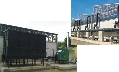 Fournaise à air chaud biomasse utilisé dans le traitement des algues vertes