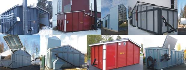 Containerised biomass boiler plants come in many shapes and with different silo solutions