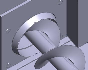 La contre-lame ronde permet de découper les morceaux trop gros qui se trouveraient dans le combustible.