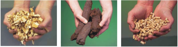 Different solid fuels: woodchips, peat, woodpellets