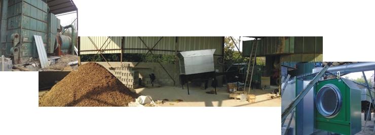 Système à air chaud biomasse installée sur séchoir à grain