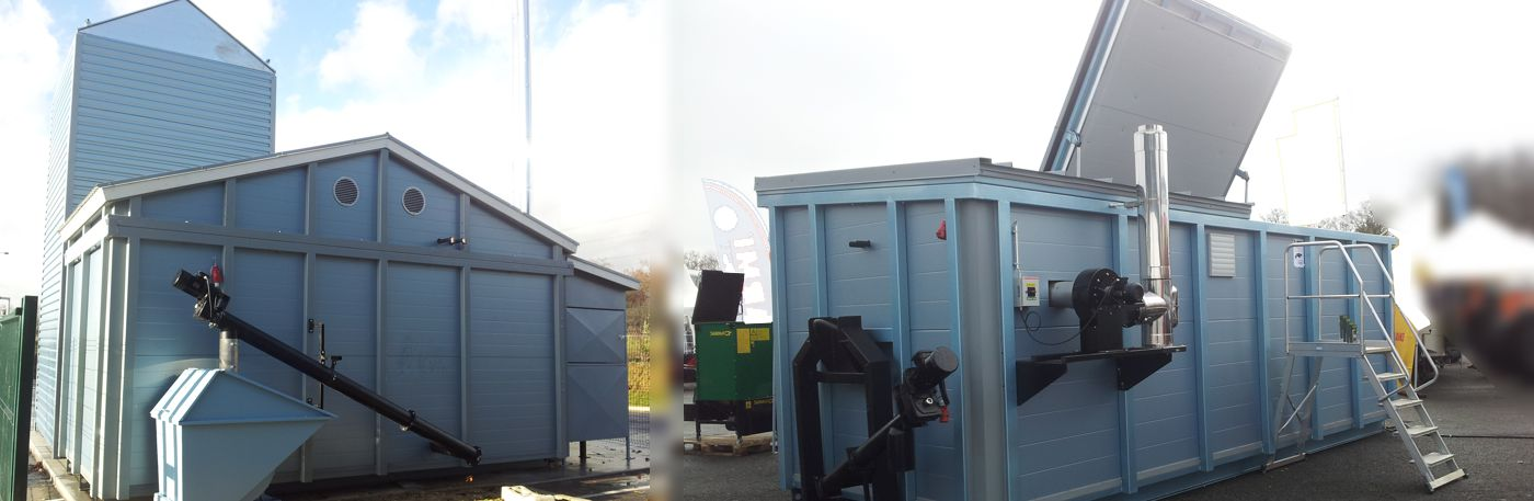 Containerized biomass heating systems, picture of contaierized biomass boiler plant at L'Oreal Paris and at a trade fair