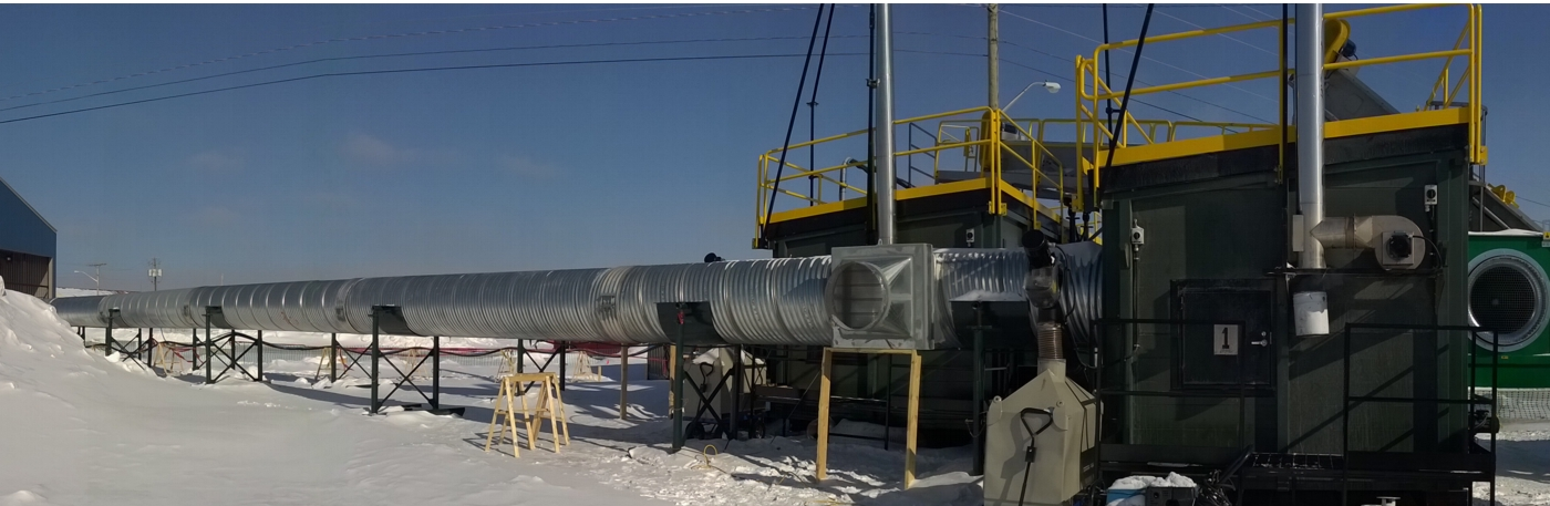 Underground mine heating with containerized biomass heating systems, picture at a gold mine in Northern Quebec