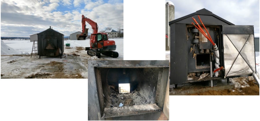 Prior to the installation, a hole was made at the rear of the outdoor boiler, allowing the biomass burner to be installed