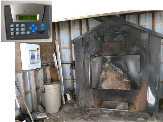 Once the control automation box is connected, the outdoor furnace is ready to be used with woodchips or pellets