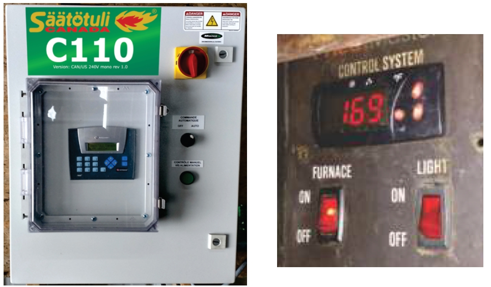 The Säätötuli C110 control automation box is a good solution for retrofit purposes on outdoor furnaces. The burner output is piloted by the furnace's own thermostat