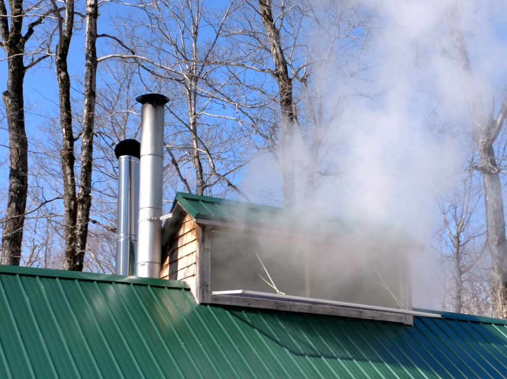 No visible smoke or smell at the chimney whereas lots of water steam flies out of the sugar shack