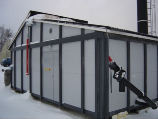 Biomass Jumbo modular heating plant with loader or pellet filling options