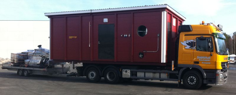 Biocont Roll-off ready for delivery with all accessories on a trailer