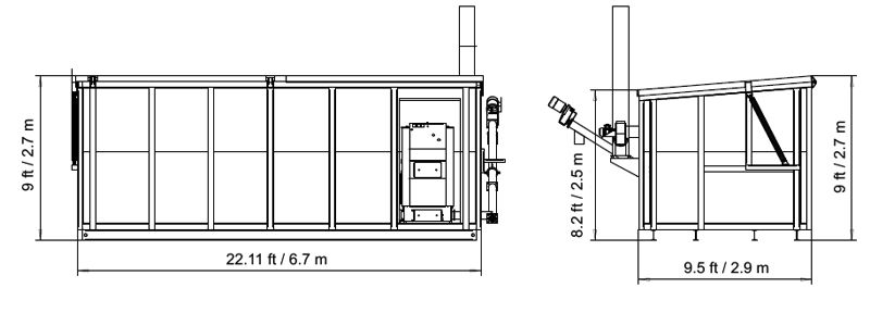 External dimensions of the Biocont Roll-off