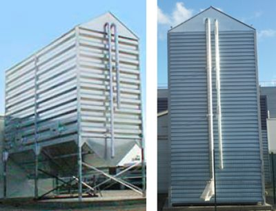 The pellet silo can store a high volume of pellets