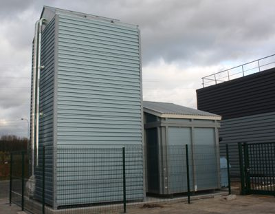 For this particular case, the pellet silo received an extra sheet-metal cladding