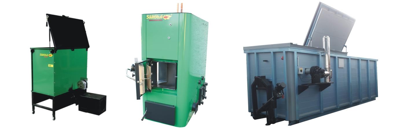 Bruleur Strong et silo, chaudiere biomasse Säätötuli petite puissance version européenne, container de chauffage biomasse