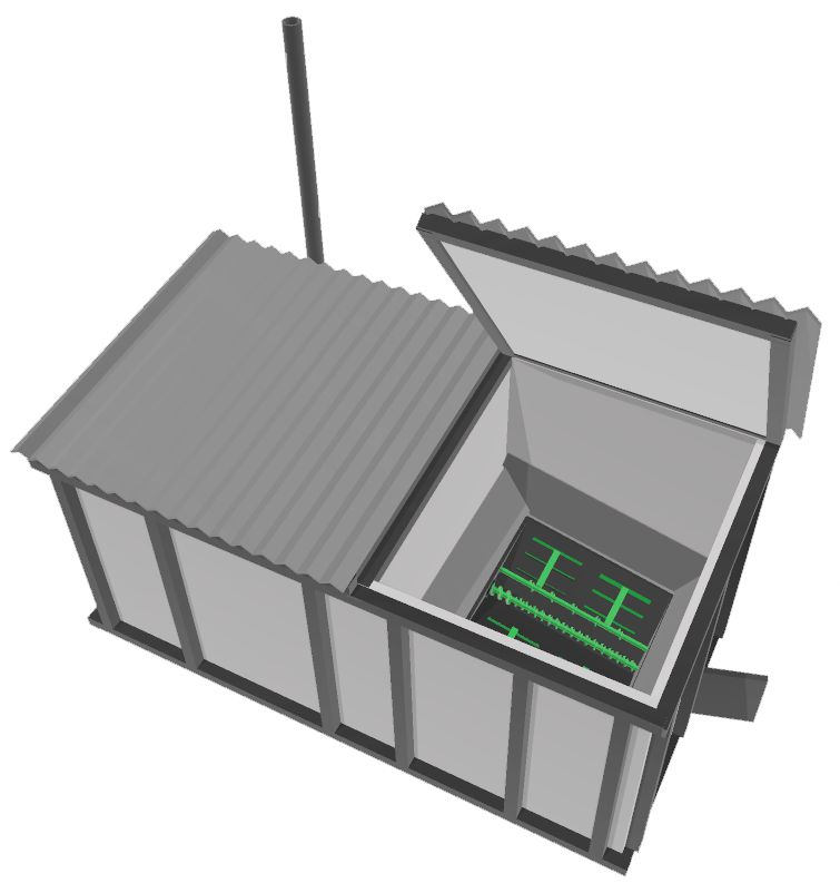 The silo side of the heat-energy box has a hydraulically operated roof to fill the silo and a service hatch to access underneath the silo discharger