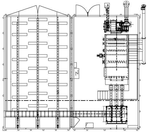 Disposition intérieure d'une chaufferie préassemblée Biocont MultiJumbo utilisée en chauffage municipal