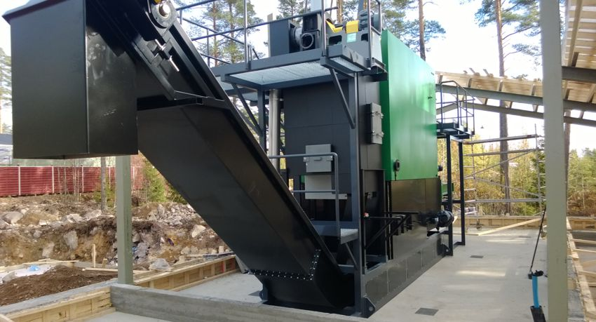 Installation of a skid mounted biomass boiler