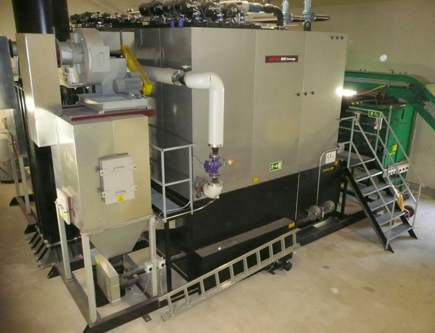 Skid packaged biomass boiler with integrated buffer silo, burner and flue gas cleaner