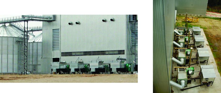 Huge grain dryer with multiple biomass hot-air generators