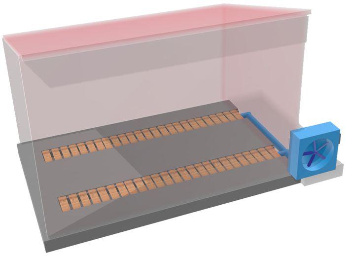 Concept de séchoir biomasse semi-actif - Le ventilateur est piloté par hygromètre