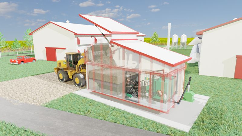 BioCont Jumbo's biomass silo being filled by a loader