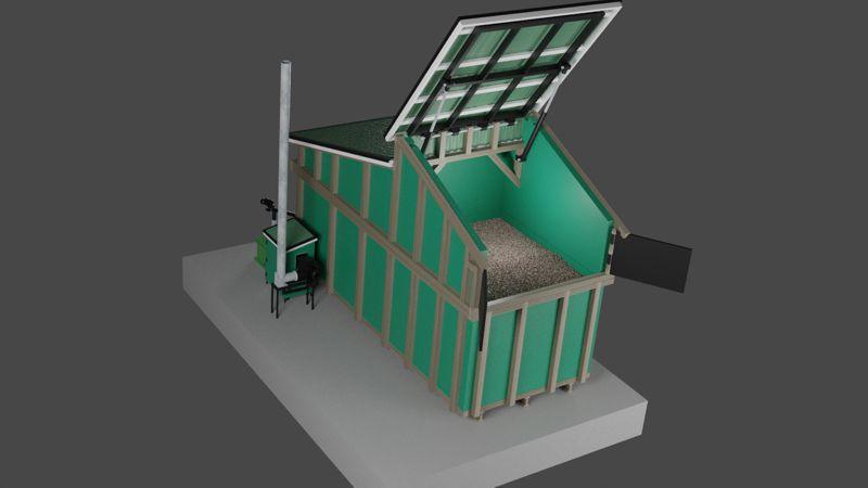 Huge integrated biomass silo