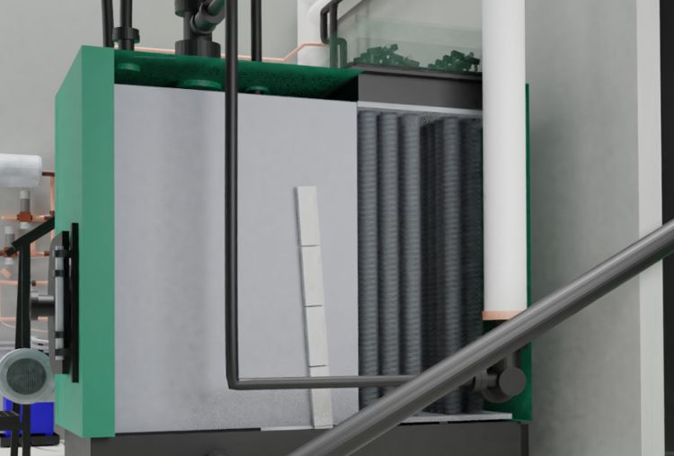 Automatic ash-removal system with metal springs going up and down in the heat-exchanger
