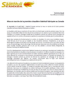 Communiqué de presse - Première chaudière Säätötuli manufacturée au Québec