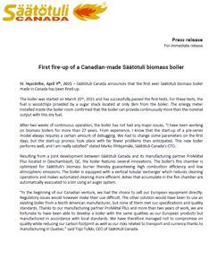 Press release: first Canadian-made Säätötuli biomass boiler